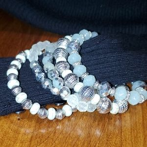 Stack Bead Bracelet Mint Green and Silver